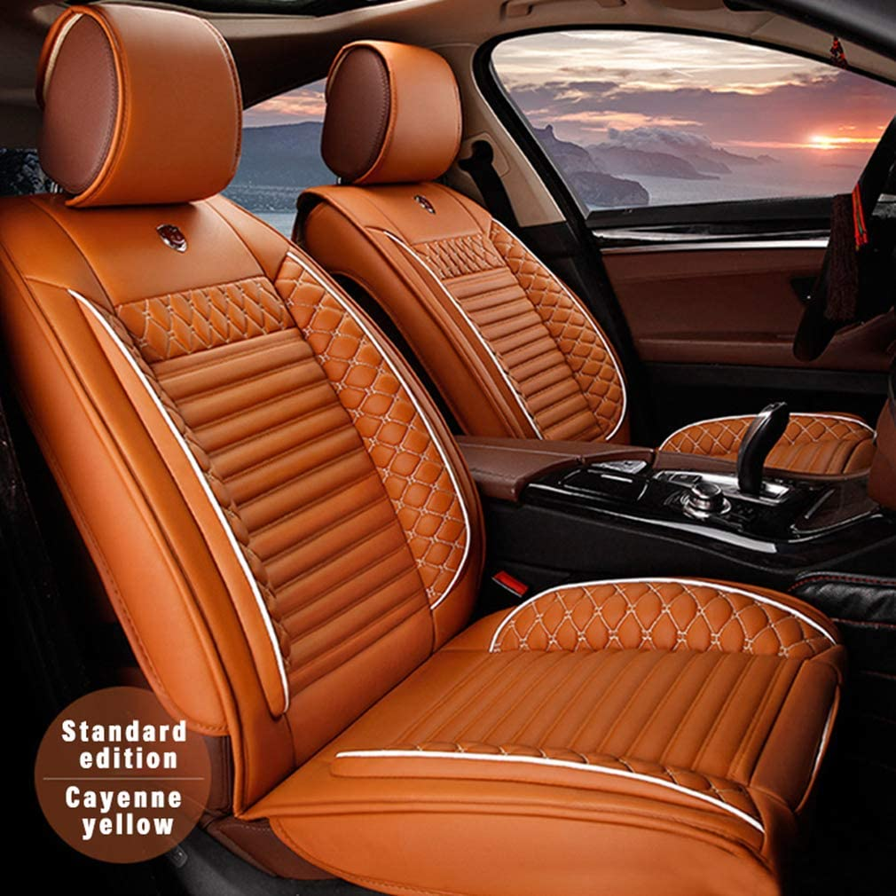 8X-SPEED for Tesla Model 3 Front Car Seat Covers Durable Comfort Leatherette Seat Cushions (Airbag Compatible) Orange