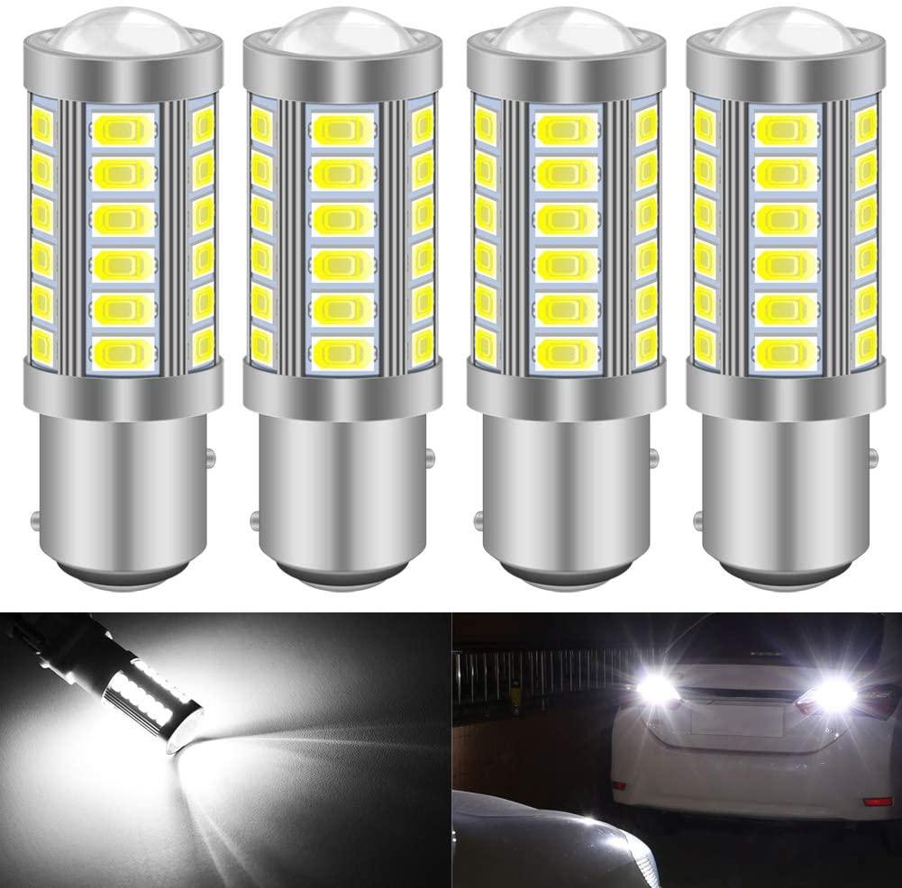 KATUR 4pcs 1157 BAY15D 5630 33-SMD White 900 Lumens 8000K Super Bright LED Turn Tail Brake Stop Signal Light Lamp Bulb 12V 3.6W