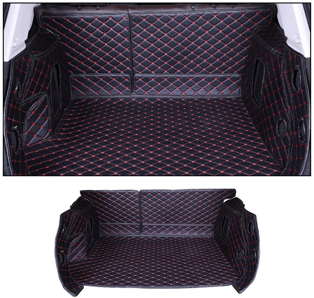 Jiahe Original Car Cargo Liner for Porsche Cayenne 2011-2017 Fully Enclosed Trunk Leather Floor Mat All Weather Trunk Protection,Trimmable,Durable,Foldable,Black red