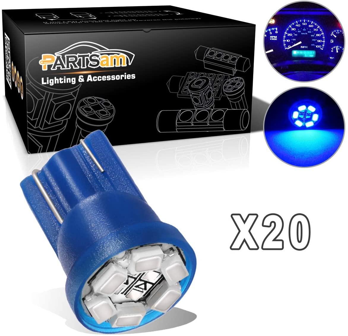 Partsam T10 PC194 2825 LED Light Bulb 168 LED Bulbs Bright Instrument Panel Gauge Cluster Dashboard LED Light Bulbs Set 20Pcs-Blue