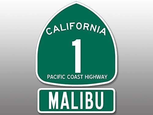 GHaynes Distributing (2 Pcs) PCH Highway 1 Sign and MALIBU Sticker Decal (california rv route beach) Size: 4.5 x 5 inch