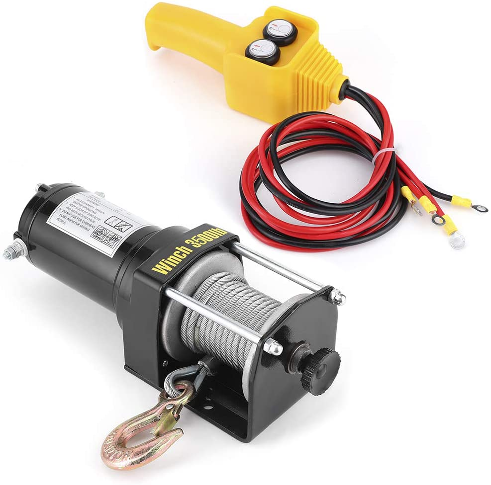 3500lbs ATV Electric Winch Synthetic Cable IP67 Waterproof High Power for ATV UTV Boat,12V