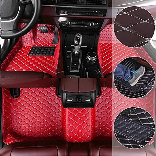 Car Floor Mats for Toyota Fortuner 2015 Custom Leather mat Full Surrounded Cargo Liner All Weather Protection Waterpoof Non-Slip Set Left Drive Red