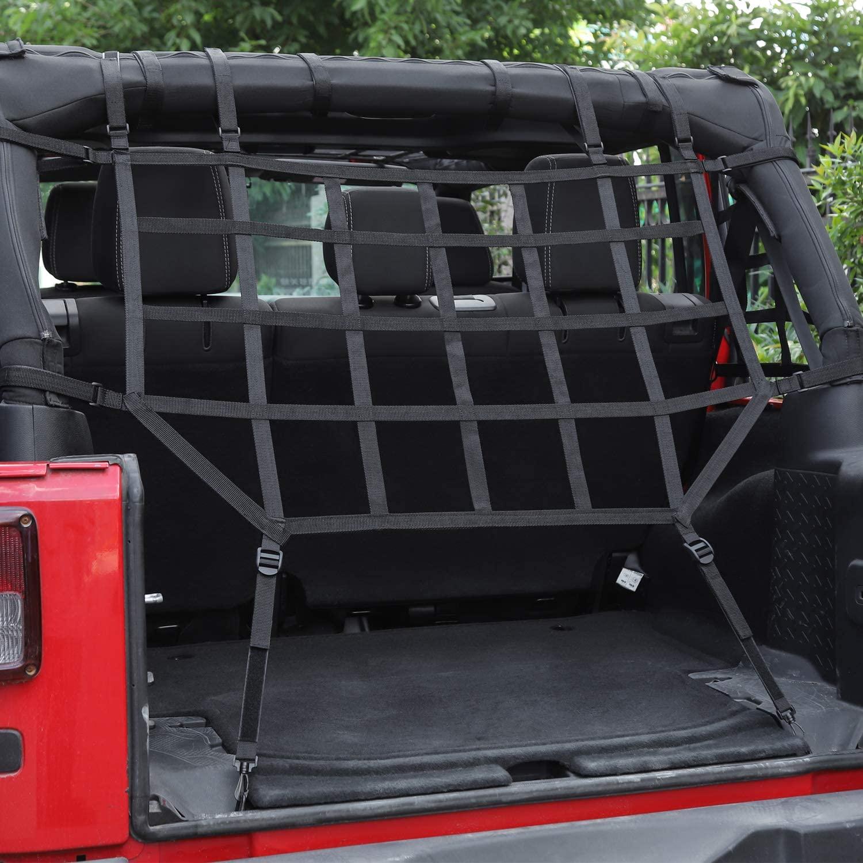 JeCar Mesh Cargo Net Heavy Duty Trunk Net for Jeep Wrangler 2007-2018 JK JKU, Black