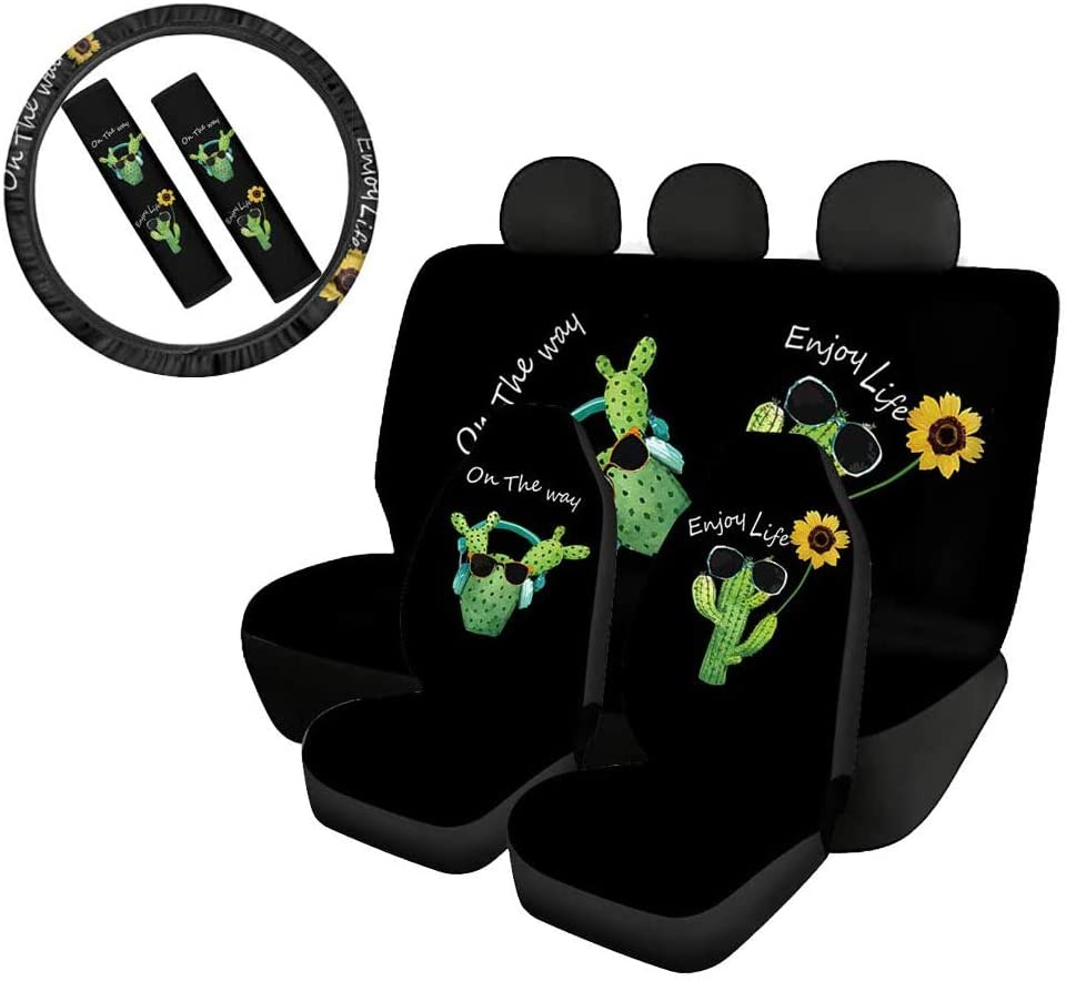 Belidome Funny Cactus Sunflower Car Seat Covers Set Seatbelt Protectors Steering Wheel Cover 4 Pieces Decoration, On The Way Enjoy Life