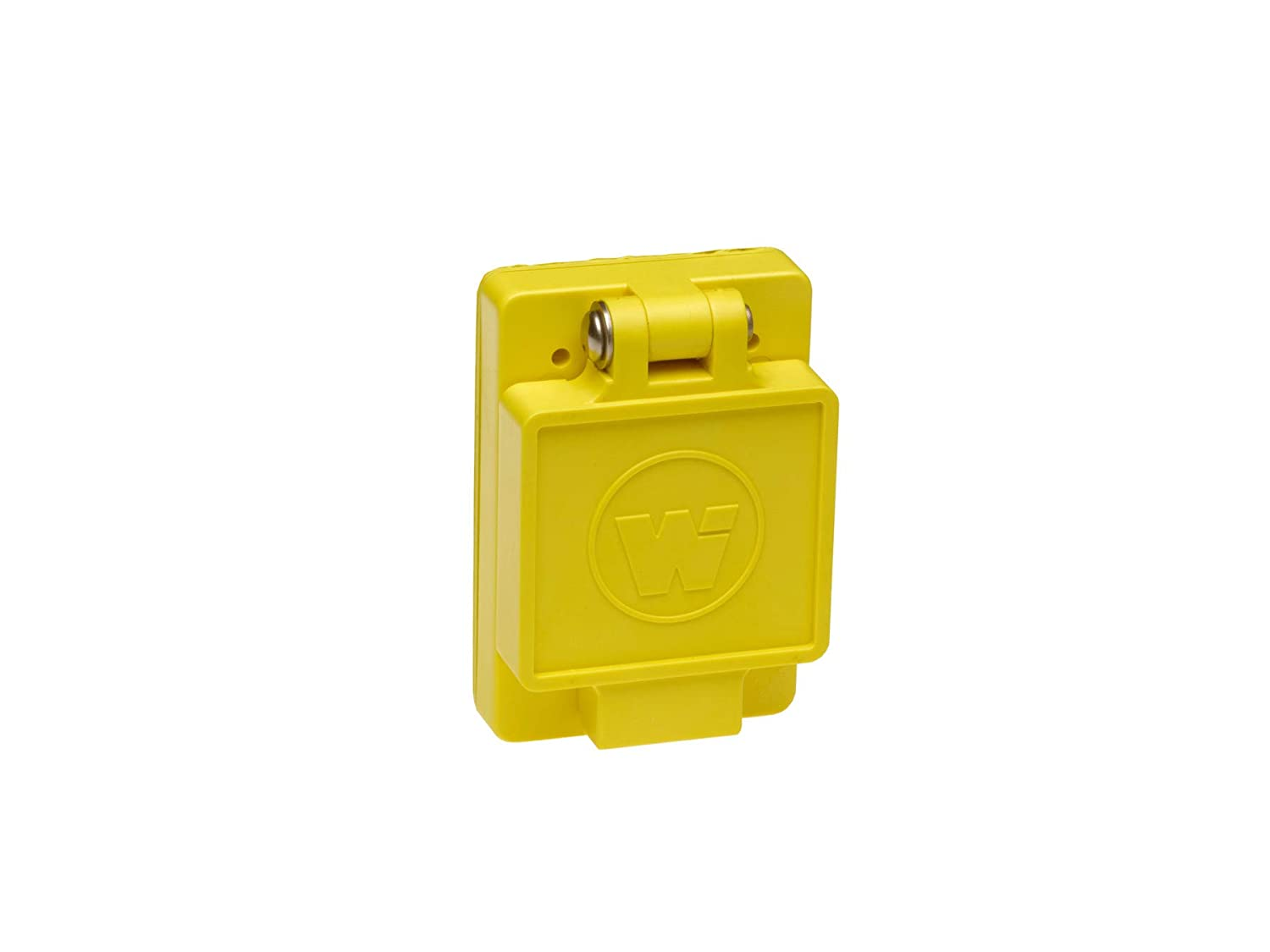 Woodhead 68W77 Watertite Wet Location Locking Blade Receptacle, 3-Phase, Single Flip Lid, Male, 4 Wires, 3 Poles, NEMA L17-30 Configuration, Yellow, 30A Current, 600V Voltage