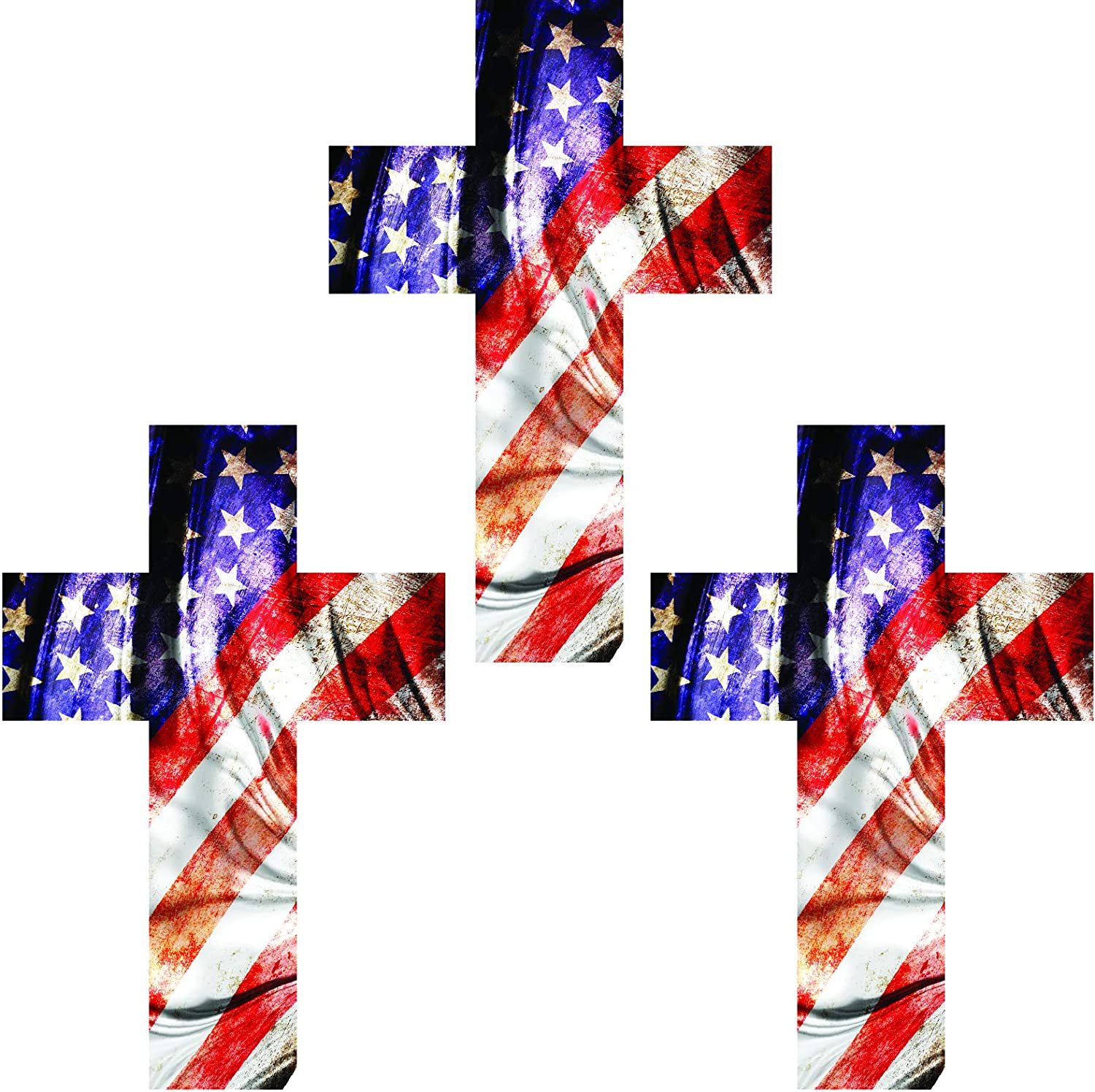 Thin Blue line Cross - American Flag - Tactical Set of Decals - 6 mil - Laminated - UV Protected - Premium Materials (XSmall, USA - Grunge)