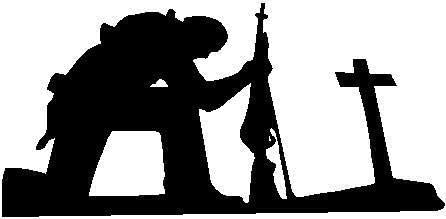 Black Vinyl Decal - Soldier at The Cross - Military Army Marines Navy air Force, Die Cut Decal Bumper Sticker for Windows, Cars, Trucks, Laptops, Etc.