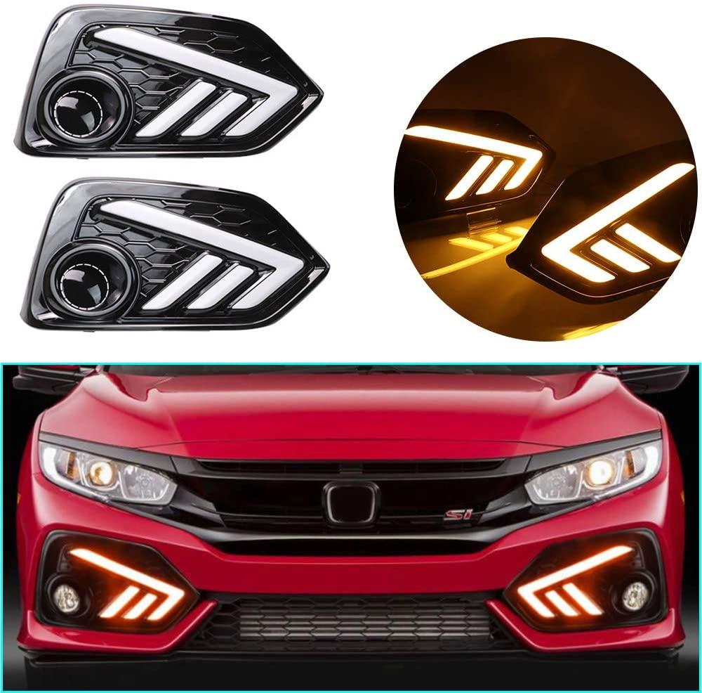 LED DRL Light Dual color for Honda Civic Si 2019 Fog Lamp Decorative Automotive Lights Exterior Accessories Model B 1 pair