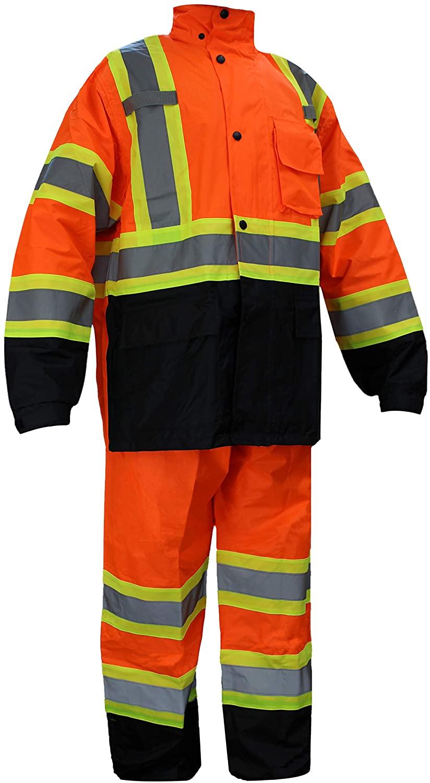 RK Safety RW-CLA3-TOR77 Class 3 Rain suit, Jacket, Pants High Visibility Reflective Black Bottom with X pattern (Medium, Orange)