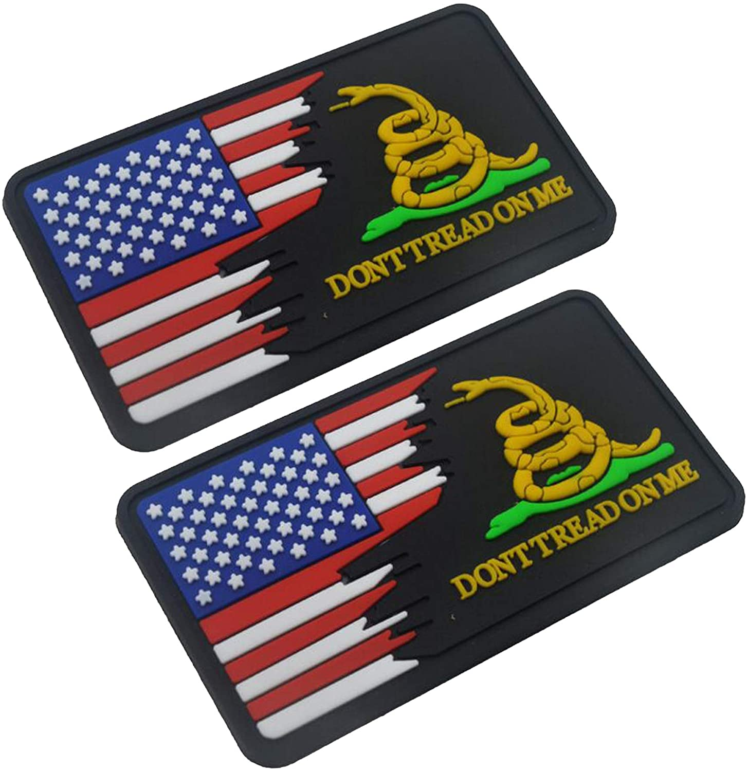 3D PVC Don't Tread On Me and USA Flag Tactical Military Morale Fastener Hook Patch 3.15x1.97 inch Sized 2PCS