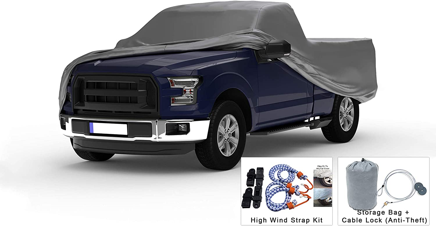 Weatherproof Truck Cover Compatible with 1957-1983 Ford F-100 & F-250 Regular Cab~8 Ft Bed - 5L Outdoor & Indoor - Protect from Rain, Snow, Hail, Sun - Theft Cable Lock, Bag & Wind Straps