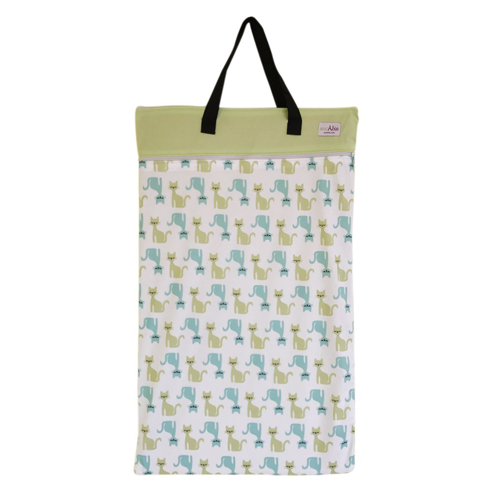 EcoAble Large Wet Dry Bag for Baby Cloth Diapers Storage or Laundry (Cat)