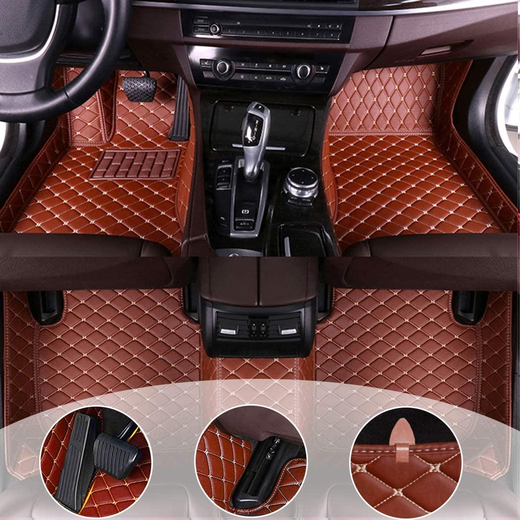 Custom Car Floor Mats for Dodge Grand Caravan 2009-2019 Waterproof Non-Slip Leather Liners Automotive Carpets Interior Accessories Full Set Brown