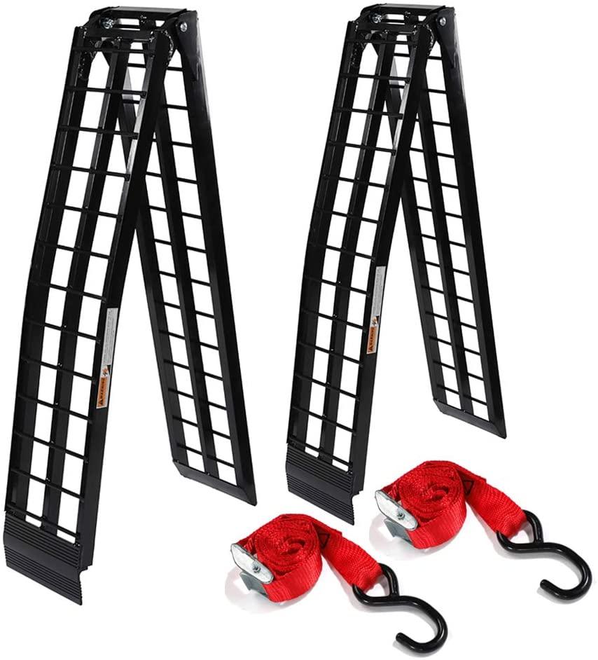 2 Pcs 9 ft Portable Folding Loading Ramps for Lawn Mower ATV UTV Motorcycle Truck Ramp (1200Lb Capacity Black Aluminum)