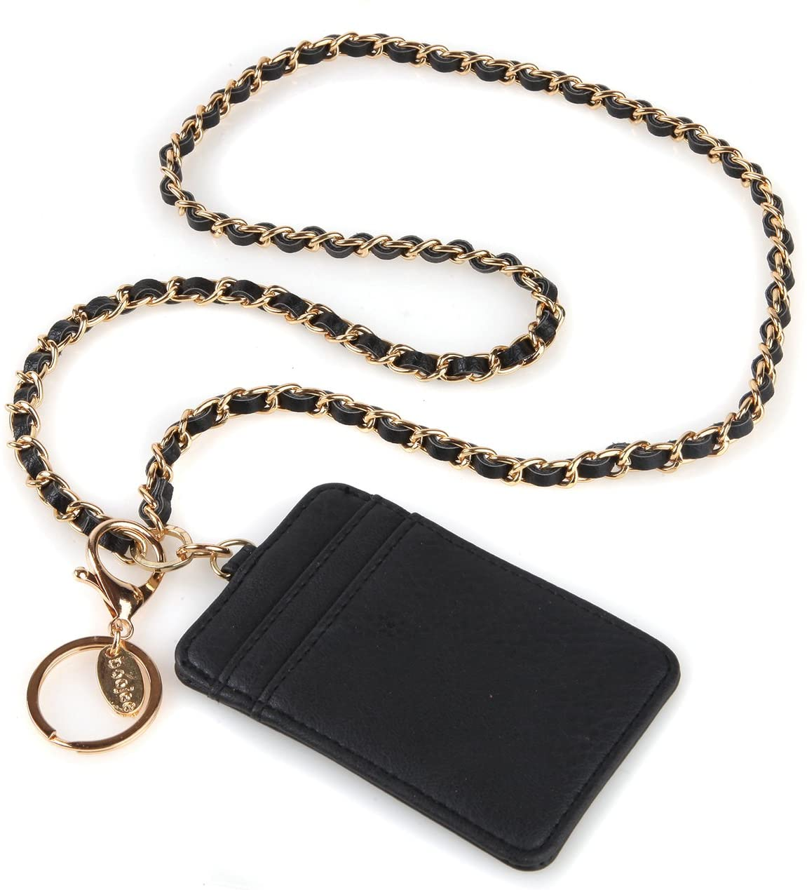 Coco Chain ID Badge Holder Wallet Lanyard in Black