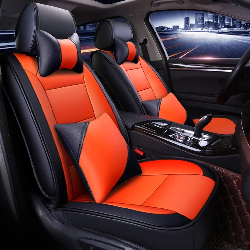 Makang Seat Cover Seat Cover for 5-seat Car Universal Comfortable Breathable Leather for The Four Seasons, Automotive Interior Accessories (Color : Black)