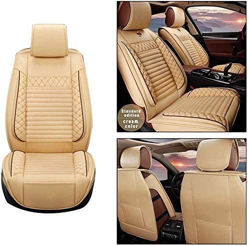 Maite Front Car Seat Covers for Kia Spectra5 PU Leather 2Pcs Car Seat Cushion-Compatible with Airbag (Beige)