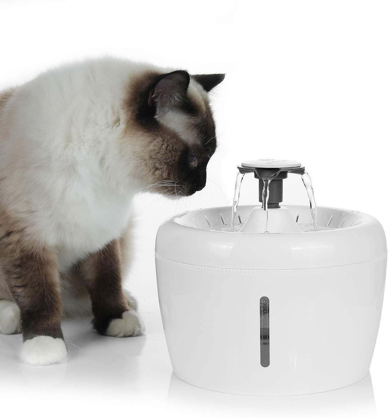 Large Cat Water Fountain, 84oz/2.5L LED Light Pet Drinking Water Dispenser, Dog Automatic Water Fountain, Quiet Electric Water Bowl 3 Flow Settings, with Water Level Window