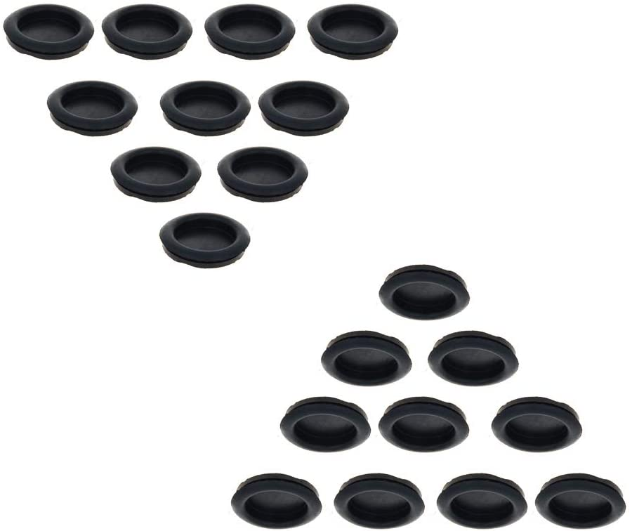 Fielect Rubber Grommet 20Pcs 32mm Mounting Dia Oil Resistant Armature Rubber Grommets for Wiring Cable Black