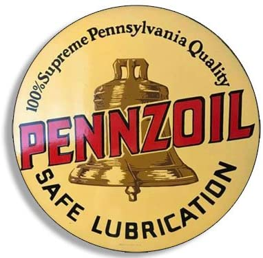 American Vinyl Round Vintage PENNZOIL Safe Lubrication Sticker (Oil Gas Logo Old Rat Rod)