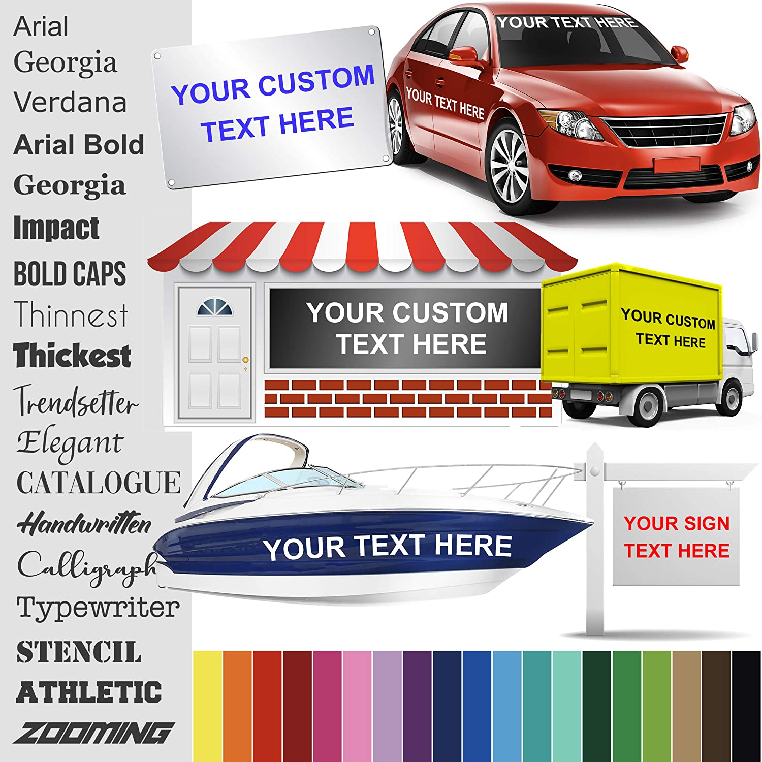 Design Your Own (1 High) Custom Vinyl Sticker | Car Window, Boat, Yeti Lettering JDM Automotive Windshield Graphic Name Letter Auto Vehicle Door Banner Sign Personalized Decal (UP to 18 Long)