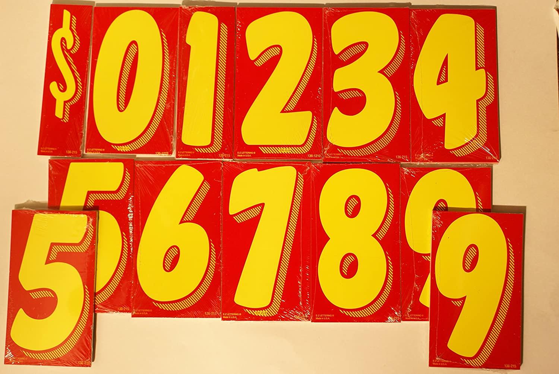 Great Link 7 1/2 Vinyl Number Windshield Dealership Decals 13 Dozen Car Lot Dealer Window Pricing Stickers (Red & Yellow)