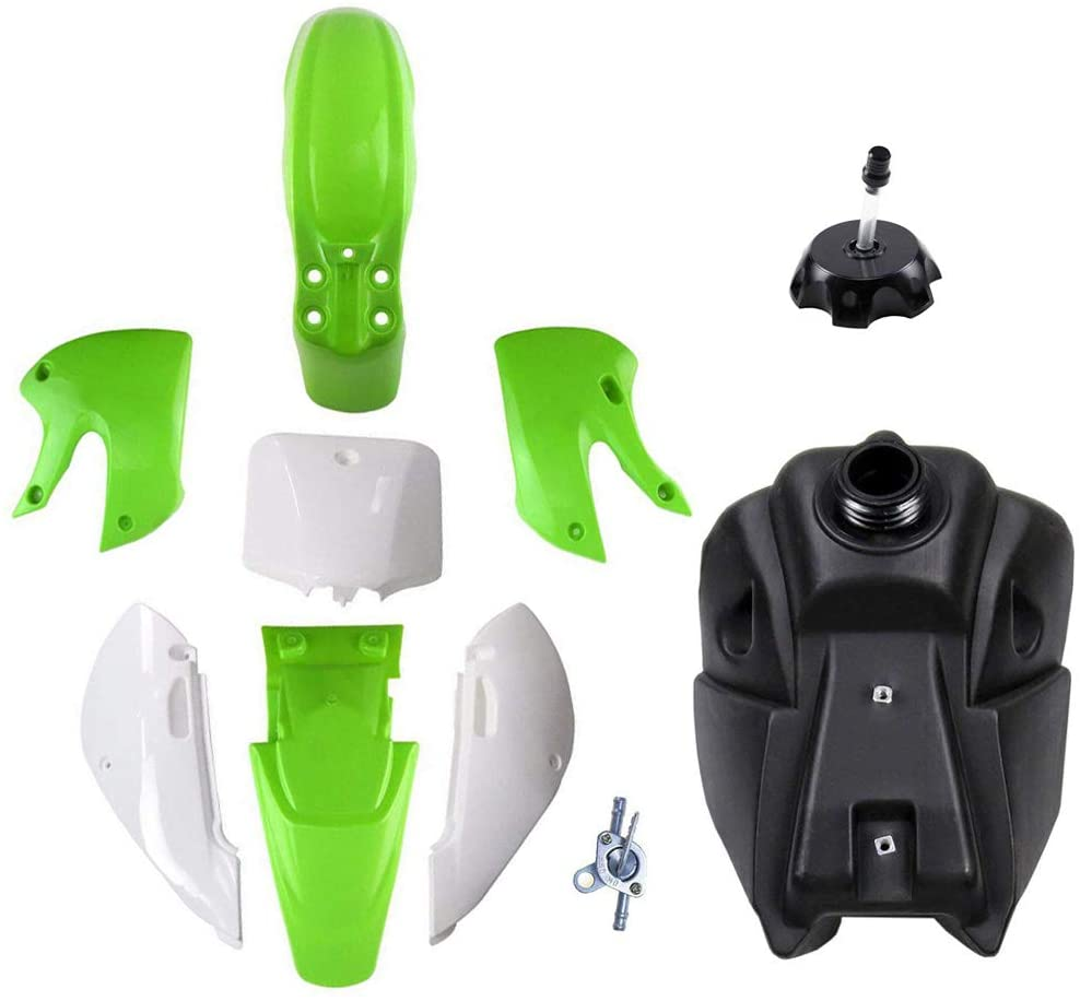 ZXTDR Replacement Plastic Fuel Kit & Gas Tank with Petcock & Cap For KLX110 KX65 DRZ110 KAWASAKI Suzuki KLX KX DRZ 65 110 (4Green+3White)
