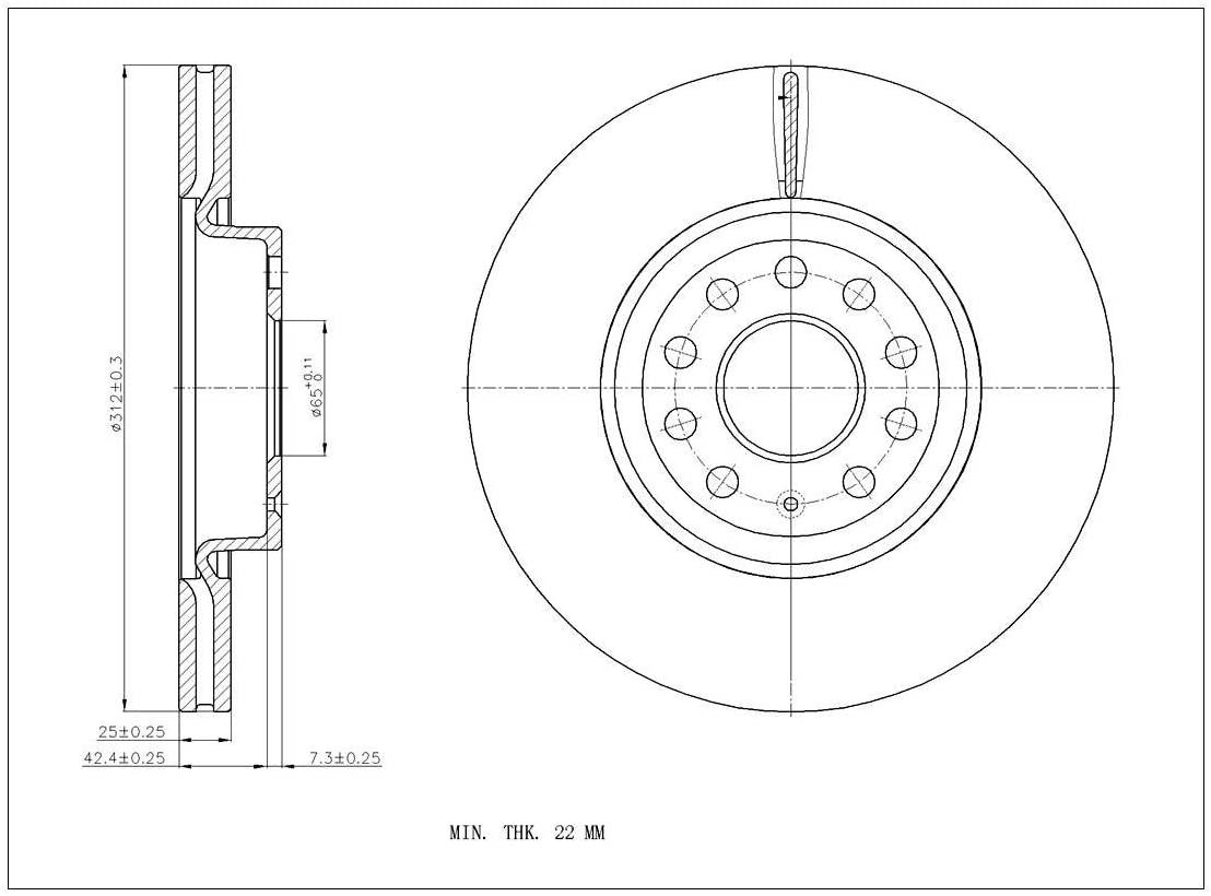 [Rear E-Coat Drill&Slot Brake Rotors Ceramic Pad] Fit 09-11 Volkswagen CC Vented