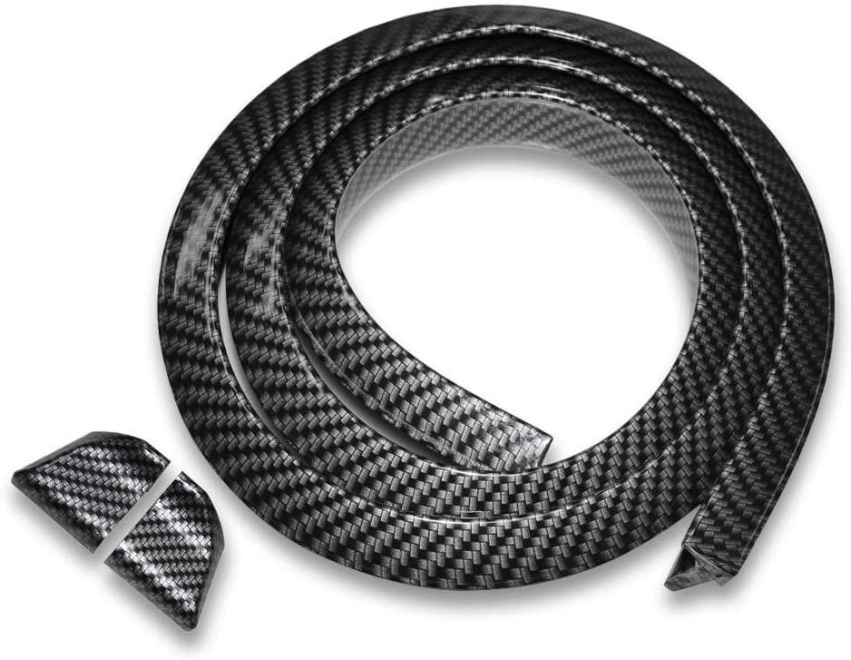 ZXMOTO 4.9Ft Carbon Fiber Lip Spoiler Rubber Rear Roof Trunk Molding Lip Kit Fits for Most Cars, Long 59