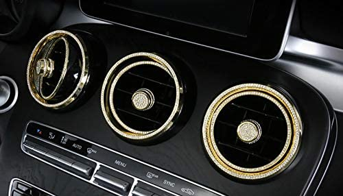 Boobo Ice Out 6 Rings AC Vent Inner+Outer Cover Frame Badge Bling Insert Emblem with Genuine Austrian Crystal Insert for Mercedes Benz C250 C300 C350 New C-Class GLC300 GLC350 GLC63 (Yellow Gold)