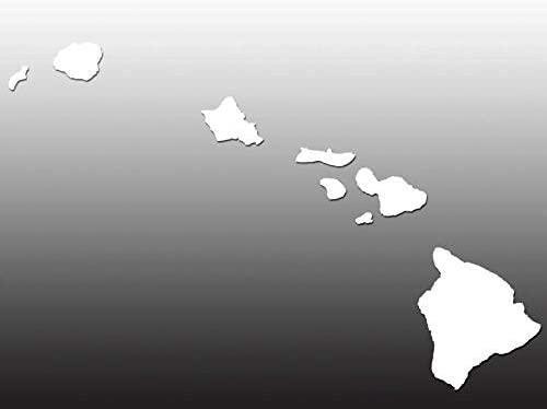 LPF USA Magnet Large White Vinyl Hawaiian Islands Shaped Magnetic Sticker (hawai'i Window Decal)
