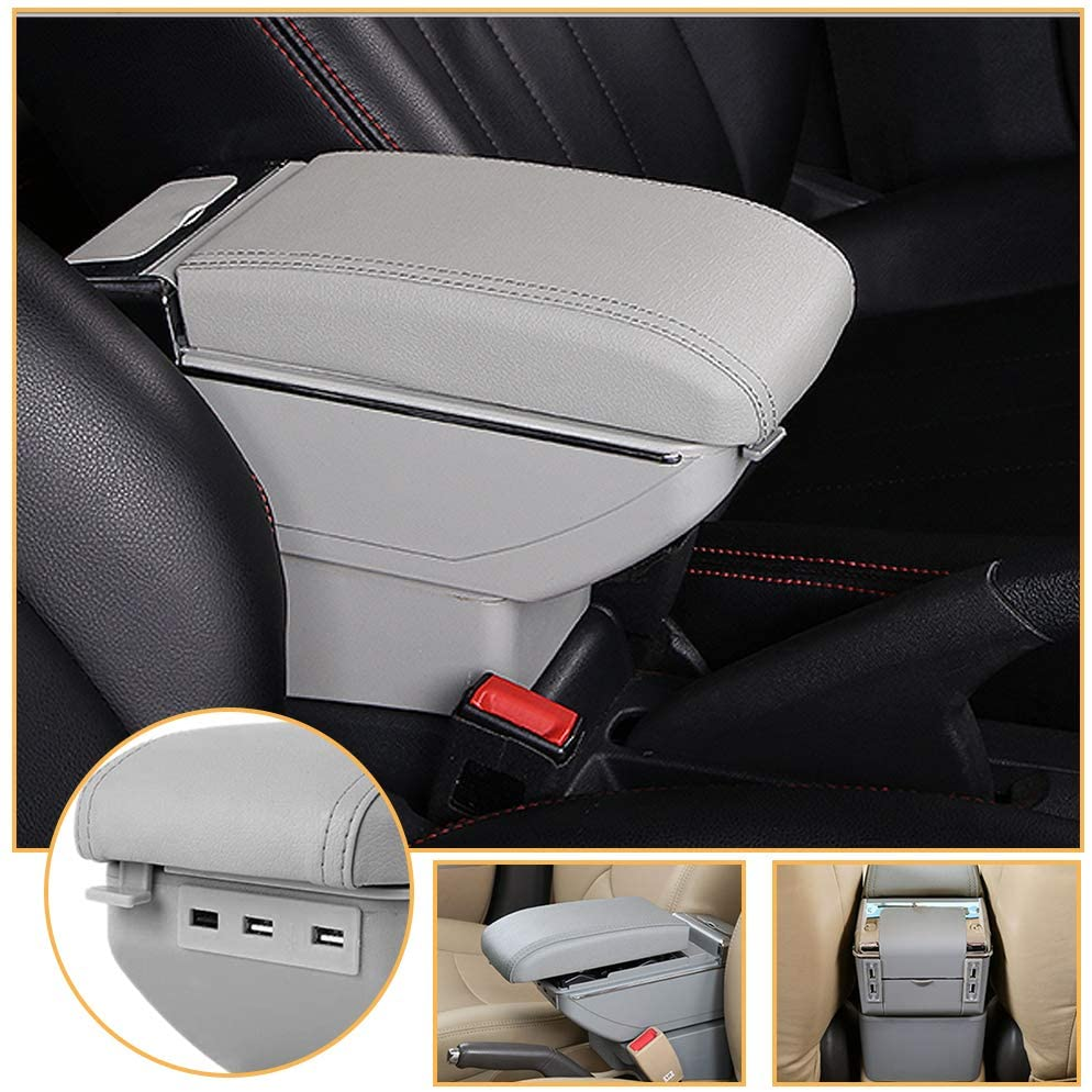 Muchkey Luxury car Center Console Cover for Suzuki Ignis 2016-2018 Single Layer, Thickened, with led & USB PU Leather car armrest Cover, Gray