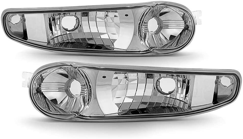 ACANII - For 2002-2006 GMC Sierra 1500 / Yukon Denali Chrome Housing Bumper Parking Lights Siganl Lamps Assembly Pair