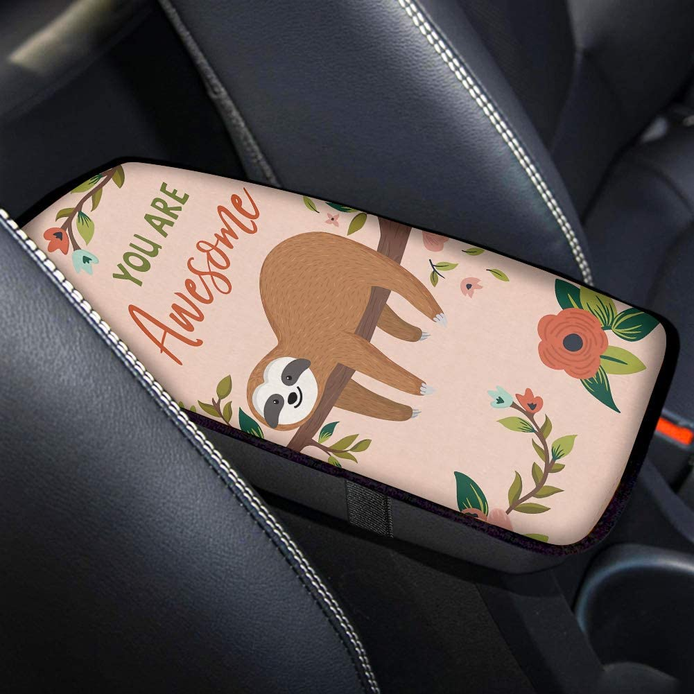 Buybai Universal Center Console Armrest Cushion Cover Pad Soft Comfortable Auto Car Interior Accessories Decor Sloth Gift