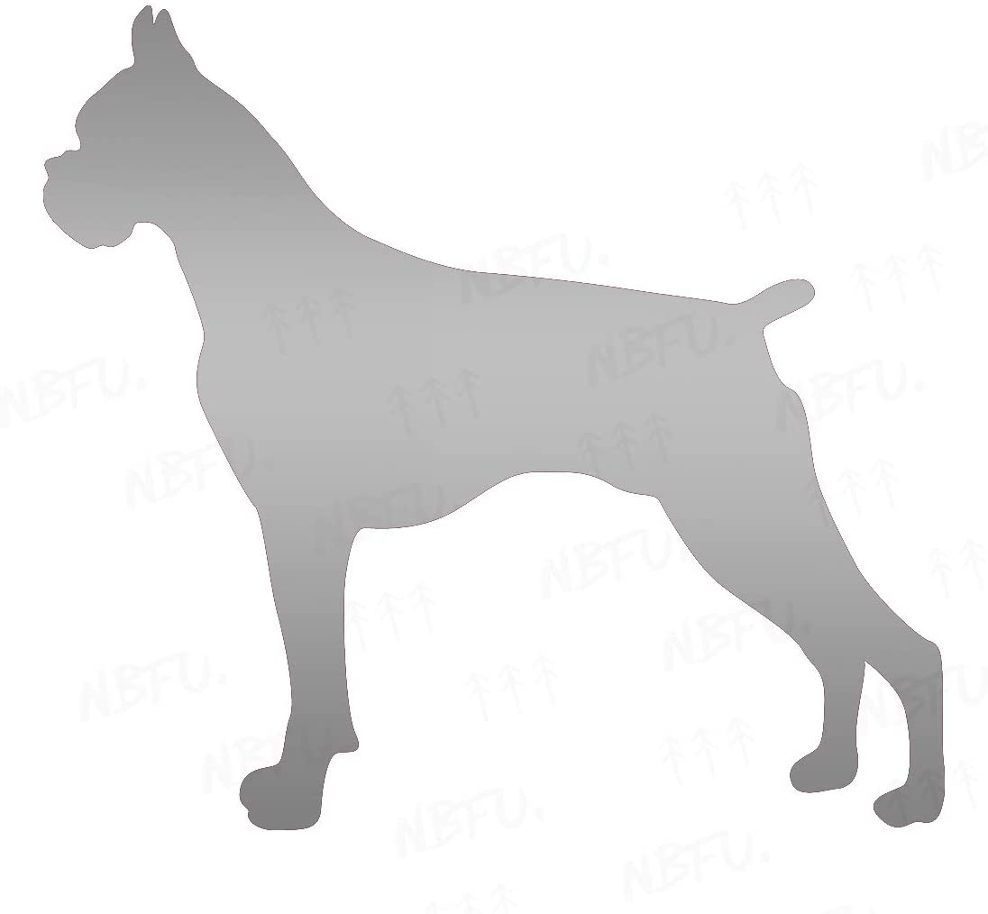 NBFU Decals Boxer Dog Animal Lover 1 (Metallic Silver) (Set of 2) Premium Waterproof Vinyl Decal Stickers for Laptop Phone Accessory Helmet Car Window Bumper Mug Tuber Cup Door Wall Decoration