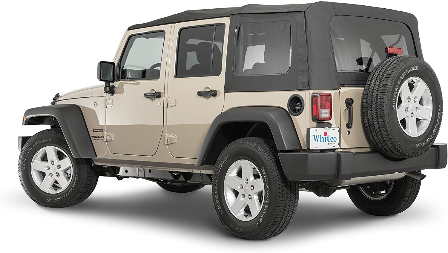 Whitco Replacement Soft Top in Black Diamond Fabric| Fits 2007-2009 Jeep JKU 4 Door Wrangler Vehicles| Tinted Removable Windows| Requires Original Soft Top Bows for Install| 35101435