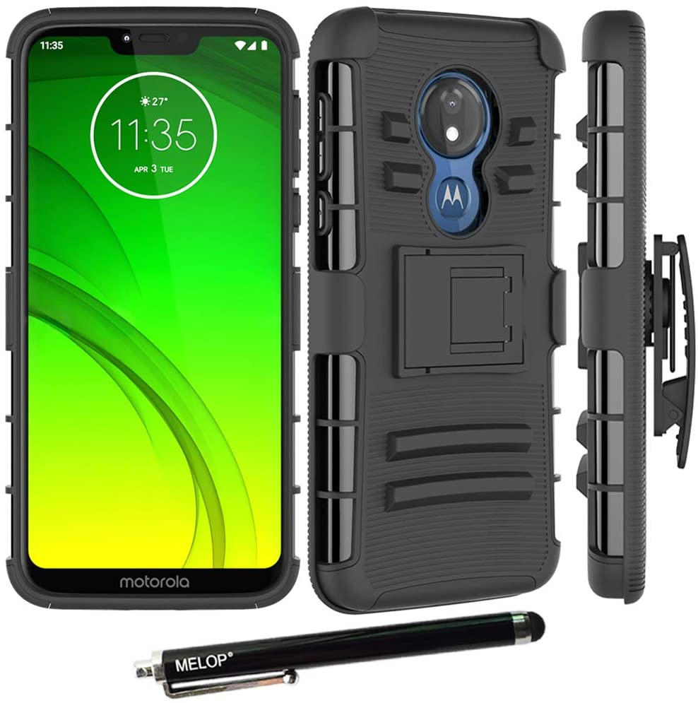 Moto G7 Power Case, Moto G7 Supra Case, MELOP Three Layer Swivel Belt Clip with Kickstand Holster Built-in Armor Case Cover for Motorola Moto G7Power / G7Supra 2019 - Black