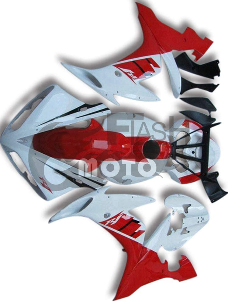 FlashMoto Fairings for Yamaha YZF-1000 R1 2004 2005 2006 Painted Motorcycle Injection ABS Plastic Bodywork Fairing Kit Set Red, White