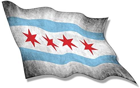 American Vinyl Vintage Waving Chicago Flag Sticker (Illinois il Logo City Proud Love)