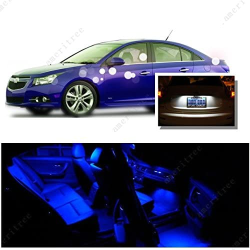 Ameritree LED for Chevy Cruze 2011-2018 (11 Pieces) Blue LED Lights Interior Package and White LED License Plate Kit