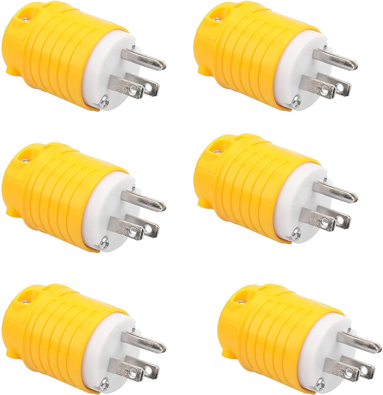 RVGUARD 15 Amp, 125 Volt, Straight Blade Plug Grounding (6 PACK, Yellow & white)