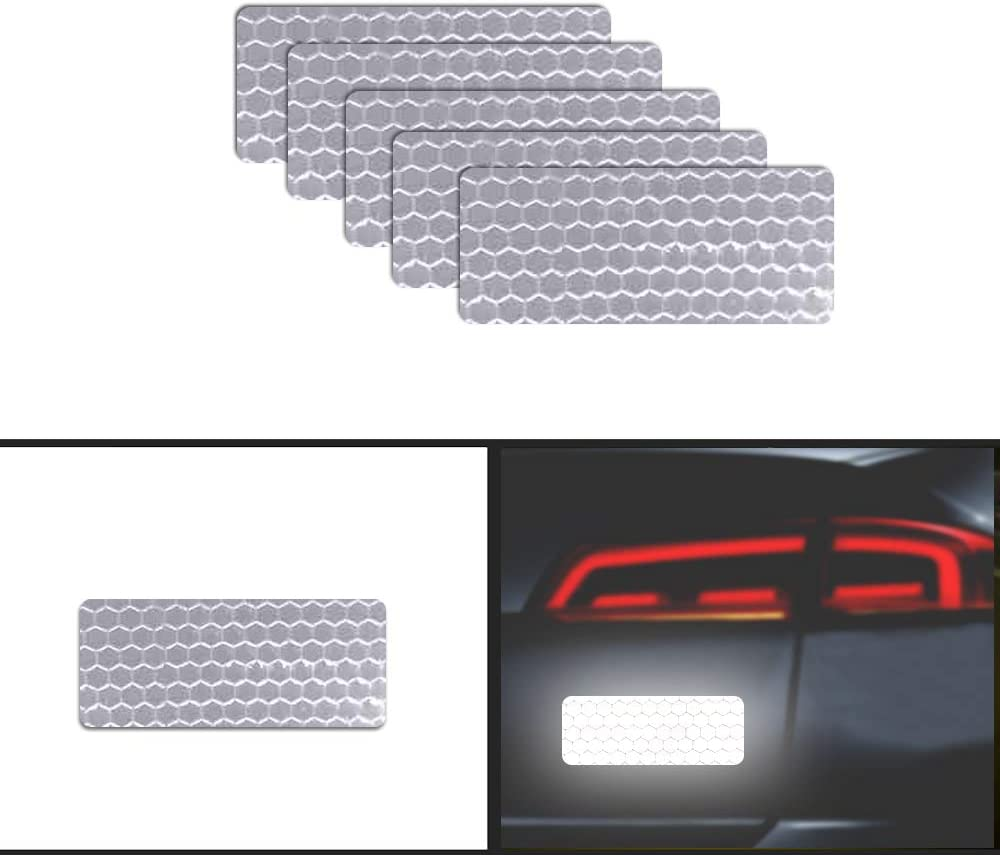 20Pcs 6cm Rectangle High Intensity Grade Reflective Tape Pack Safety Warning Decal Stickers Pack Reflective Stickers Pack for Backpack Car Motorcycle Bike White