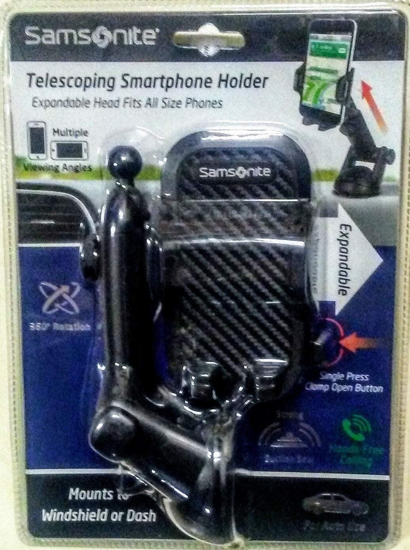 Samsonite Auto use Windshield or Dashboard Telescoping Smartphone Holder Expandable Head fits Phones Hands-Free Calling 360 deg Rotation SA6057