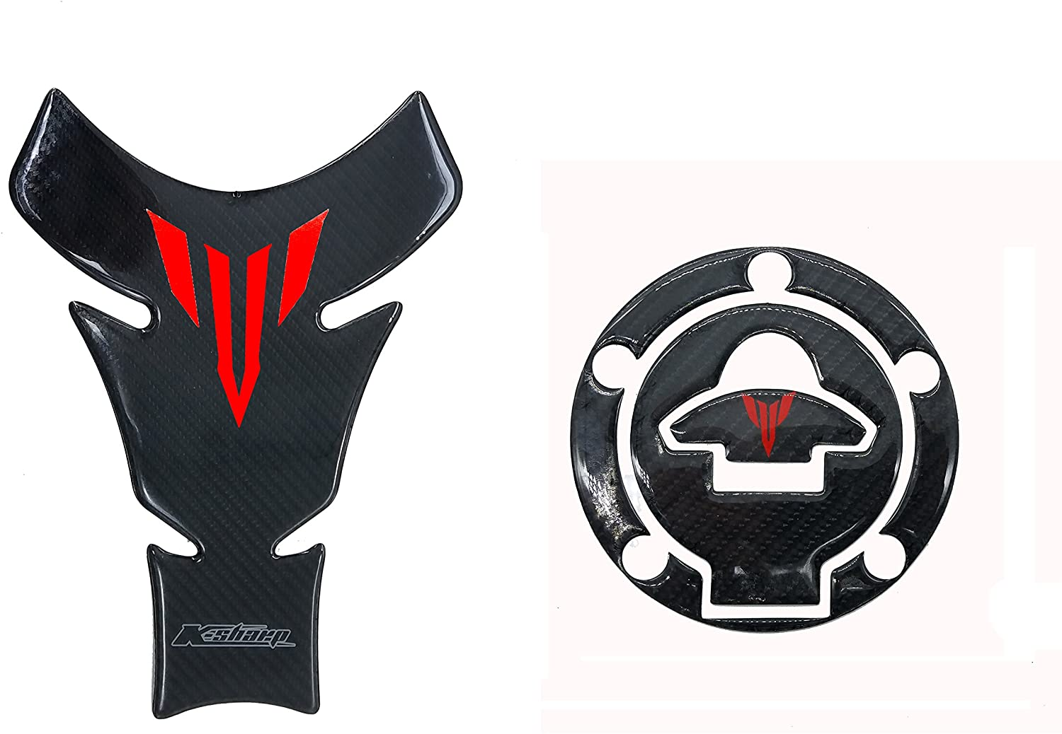 8.6 inches Real Carbon Fiber 3D Sticker Vinyl Decal Emblem Protection Gas Tank Pad & Cap Cover For Yamaha MT-25 MT-03