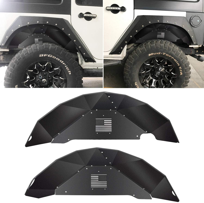 Sunluway Rear Inner Fender Liners Fit for Jeep Wrangler 2007-2018 JK JKU 4WD Aluminum Lightweight Design Black Splash Guards (Symmetrical Design : US Flag Logo)