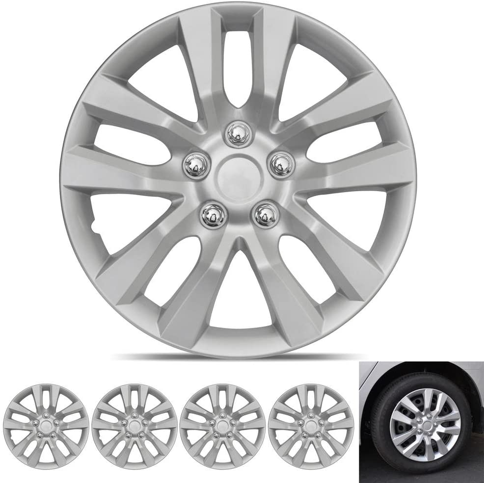 """BDK Wheel Guards – (4 Pack) Hubcaps for Car Accessories Wheel Covers Snap Clip-On Auto Tire Rim Replacement for 16 inch Wheels 16"""" Hub Caps (Altima Style 2)"""