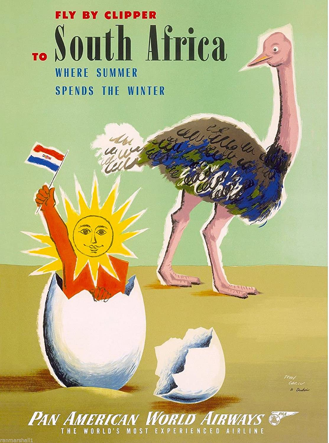 MAGNET South Africa By Clipper Ostrich Vintage African Travel Advertisement Magnet