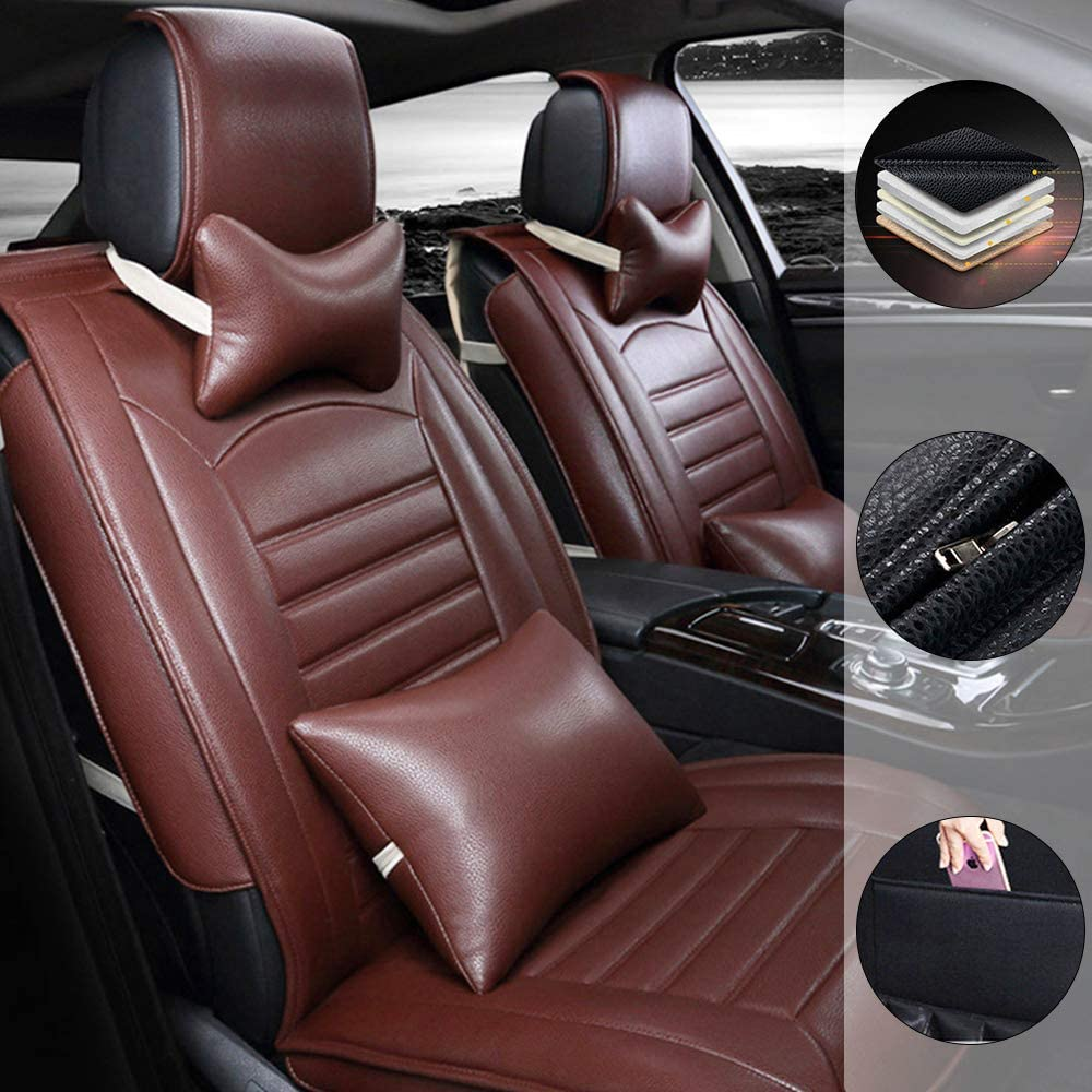 Car Seat Cover for Volkswagen Golf7 MK7 Golf6 MK6 GTI 5-Seats Protection Soft Waterproof Full Set PU Leather Car Front+Rear Seat Pads Brown Luxury 9PCS