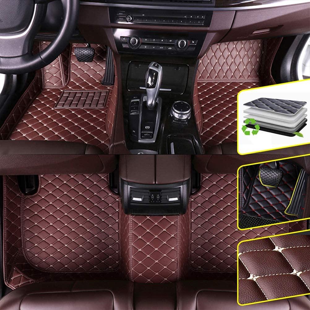 DBL Custom Car Floor Mats for Volkswagen Golf Sportsvan 2015-2017 Waterproof Non-Slip Leather Carpets Automotive Interior Accessories 1 Set Coffee Color